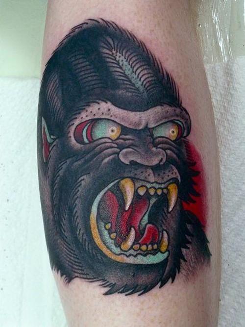 tatuaje de gorila sanguinario old school. Black Bedroom Furniture Sets. Home Design Ideas
