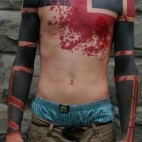 Tatuaje Robin de pecho rojo
